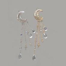 European and American Fashion Hair Accessories Moon Tassel Crystal Hairpin Crescent Hairpin.