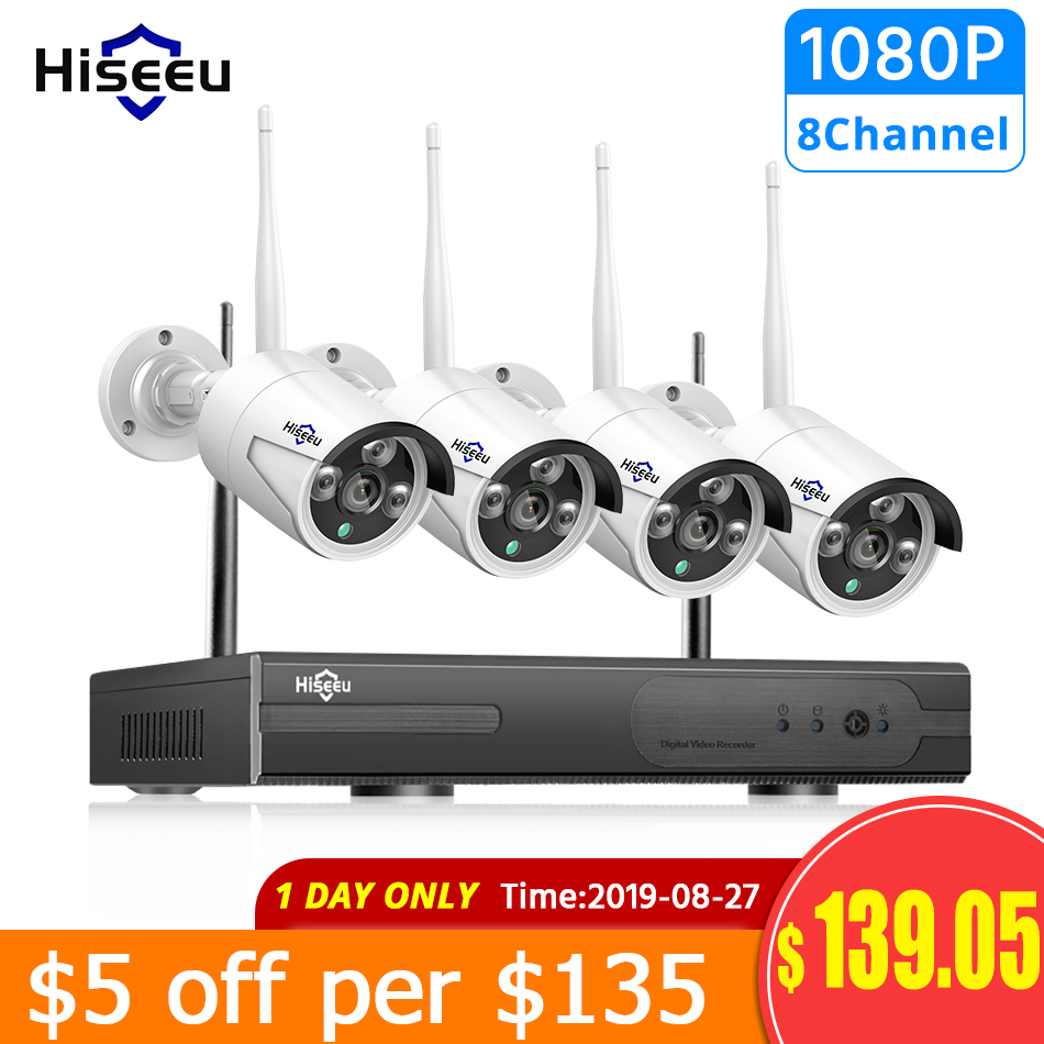 Hiseeu Cctv-System NVR Video-Surveillance-Kit Outdoor 1080P 4pcs Wireless 1TB 2MP Ip-Ir-Cut