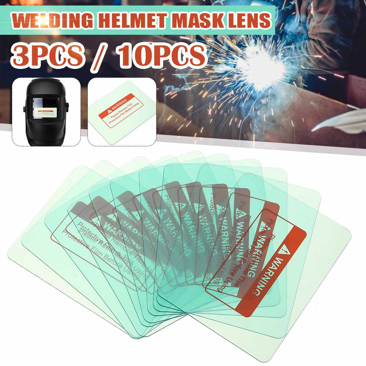 3pcs/10pcs 116 X 90mm Outside Protective Plastic Cover Transparent Welding Helmet Glass Plate Lens For Darkening Helmet Welding