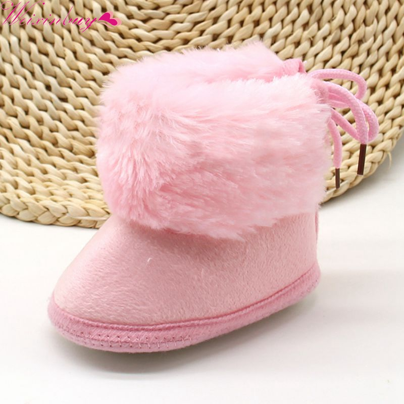 Baby Winter Warm Booties Infant Baby Girl Toddler Boots With Butterfly-knot Anti-slip Velvet Warm Soft Sole Crib Shoes