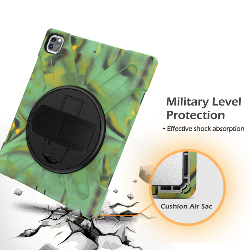 Heavy Duty For Hand+Neck Pro with 12.9 iPad Protection Kickstand 2021 Strap Case A2461 Cover A2379 Rugged A2462