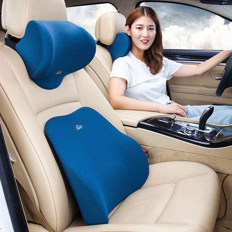 Universal Car Accessories Head Support Neck Protector Pillow Memory Cotton Auto Headrest Lumbar Support Backrest Set