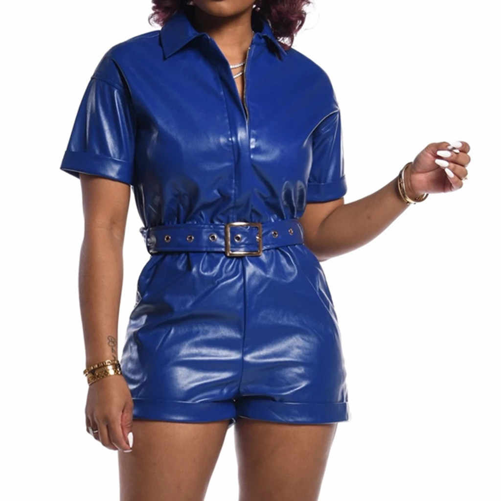 Womail Vrouwen Jumpsuit Zip Up Pu Leer Sexy Turn-Down Kraag Bodycon Speelpakje Korte Romper Zwart Riem Algehele Straat club Party