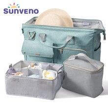 Sunveno חיתול תיק 34L גדול קיבולת תינוק חיתול תיק עמיד למים אופנה אמא כתף תיק יולדות תינוק נסיעות תיק 3in1