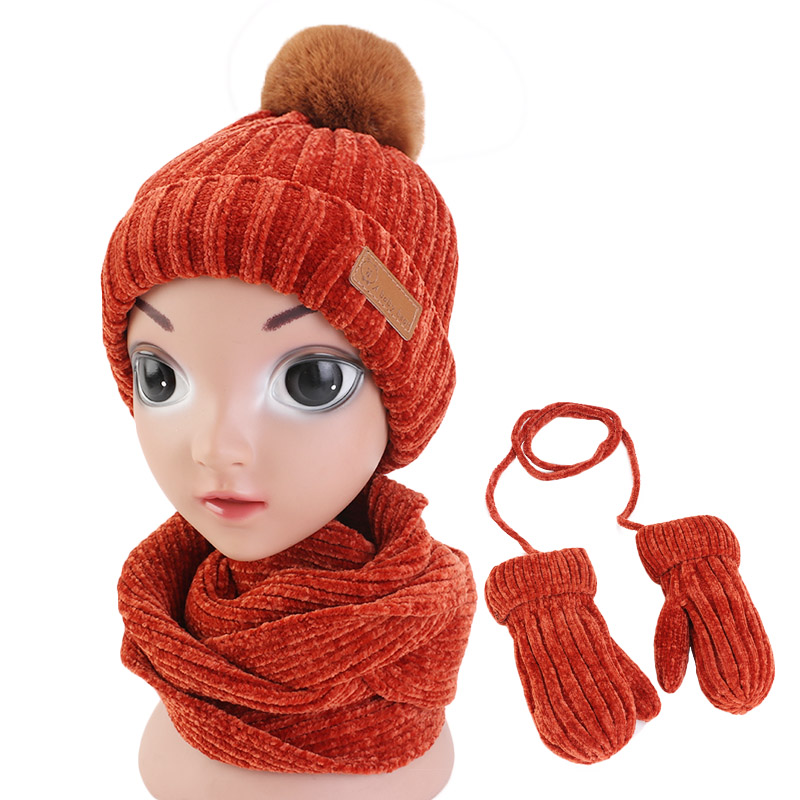 New 1-5 Years Baby Hat Scarf Glove Mitten 3pcs Suit Winter Warm Corchet Chenille Slouchy Beanie And Scarf For Boys And Girls