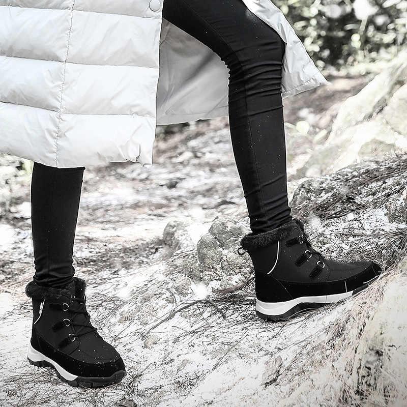 Kadın Kışlık Botlar 2019 yeni Moda Su Geçirmez Kumaş Siyah Kadın Ayakkabı Sıcak Sıcak Peluş Ayakkabı Kadın Orta buzağı Botas patik