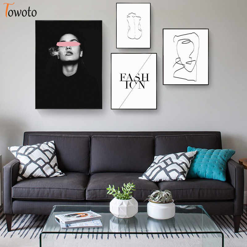 Women Line Drawing Canvas Painting Nordic Posters and Prints Modern Fashion Wall Art Decorative Bedroom Wall Picture Home Decor