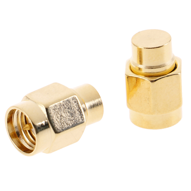 2pcs/lot 2W 6GHz <font><b>50</b></font> ohm <font><b>SMA</b></font> Male RF Coaxial Termination Dummy Load Gold Plated Cap Connectors Accessories image
