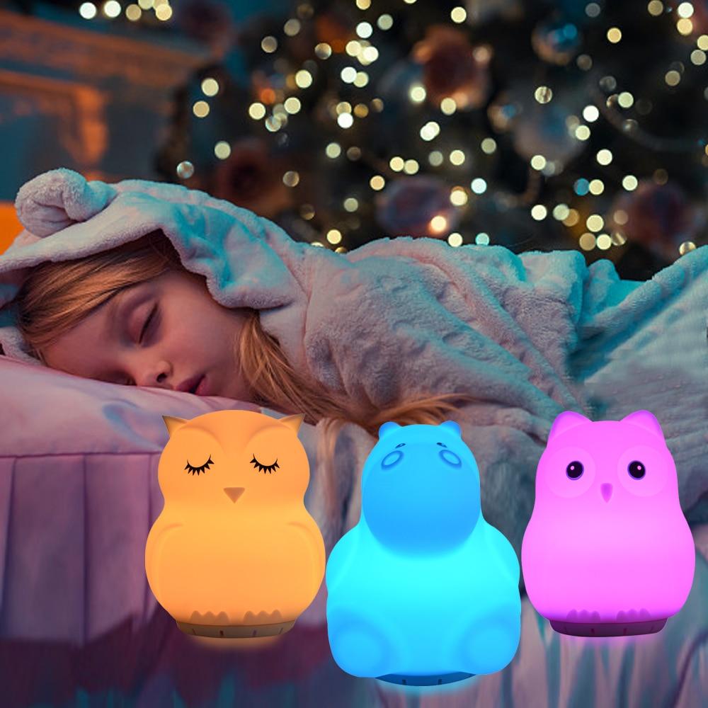 Cartoon Bird Hippo Owl Unicorn Music Lamp Wireless Bluetooth Speaker 9 Colors LED Night Light USB Charging Silicone Animal Lamp