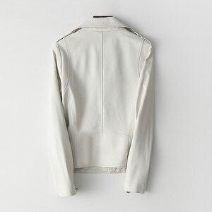 Image 2 - 女性白本物の革のジャケット長袖スリムジッパー本革コートレディースストリートシープスキンカジュアル原宿服