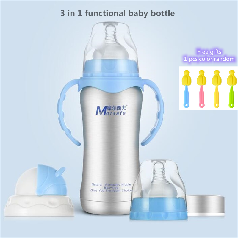 240ml Baby Bottle Thermos Stainless Steel Feeding Bottle 3-in-1 Nursing Bottle Nipple Insulation Cup Vacuum Flask Milk Bottle