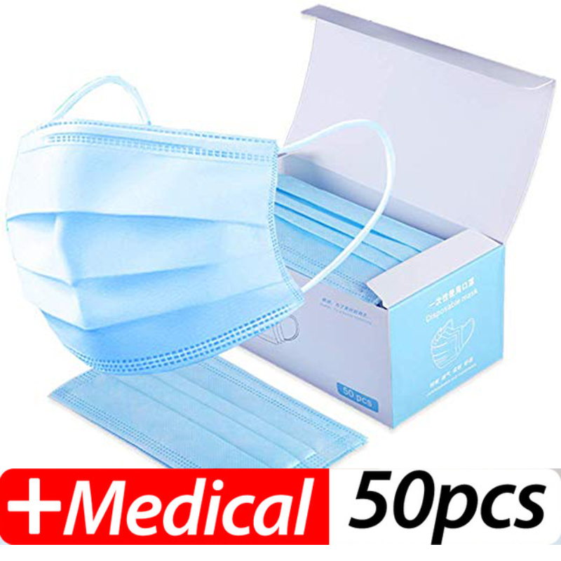 100pcs High Quality 3 Layers Activated Non-woven Anti Virus Formaldehyde Bad Smell Bacteria Proof Face Mouth Mask