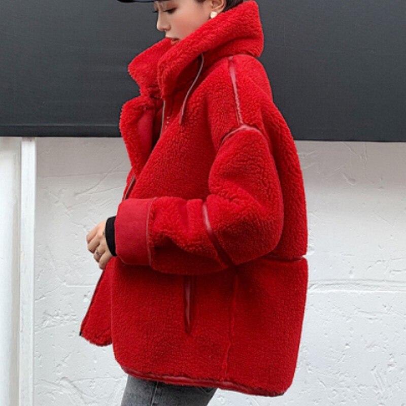 Hiver femme veste agneau cachemire Locomotive manteau femme solide épaissir veste femme mode Streetwear automne veste femmes