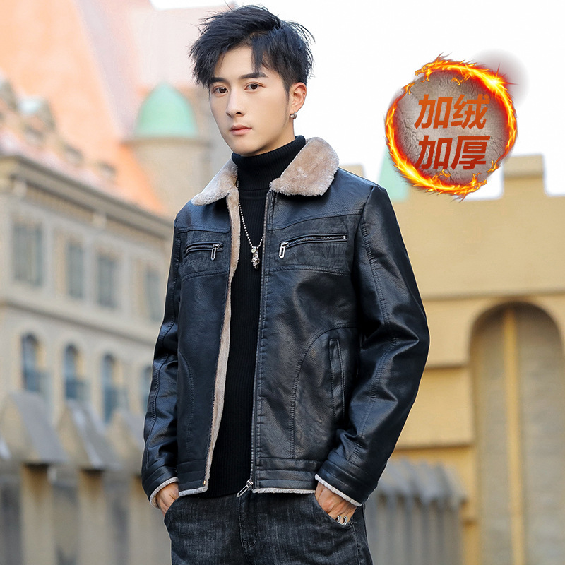 Hot Selling Leather Coat Plus Velvet Men Warm Wool Jacket Fold-down Collar Loose-Fit Casual Winter Leather Jacket PY