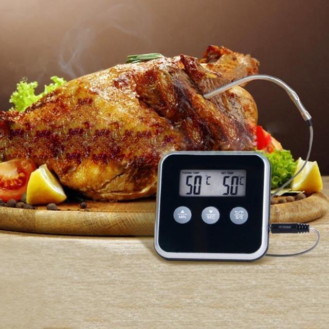Termometr do żywności LCD sonda elektroniczny cyfrowy mięso na grilla woda temperatura gotowania oleju Alarm czasomierz kuchenny kuchnia gotowanie Tester