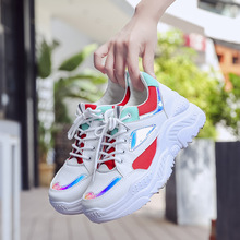 Women Sneakers Autumn Casual Chunky Snekaers 2019 Breathable Mesh Platform Wedges Shoes For Dad Walking Footwear