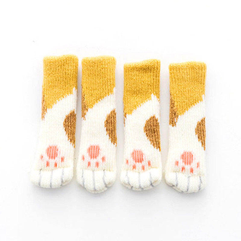 4Pcs Furniture Chair Leg Cover Pad Anti-slip Floor Knitting Sock Table Feet Mat AUG889