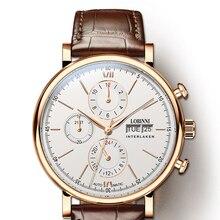 Switzerland LOBINNI Men Watches Luxury Brand Perpetual Calender Auto Mechanical Mens Clock Sapphire Leather relogio masculino