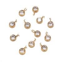 10 Uds. De abalorios de acero inoxidable, circonita transparente AAA, piedra de nacimiento, oro pequeño colgante para collar, pulsera, fabricación de joyas