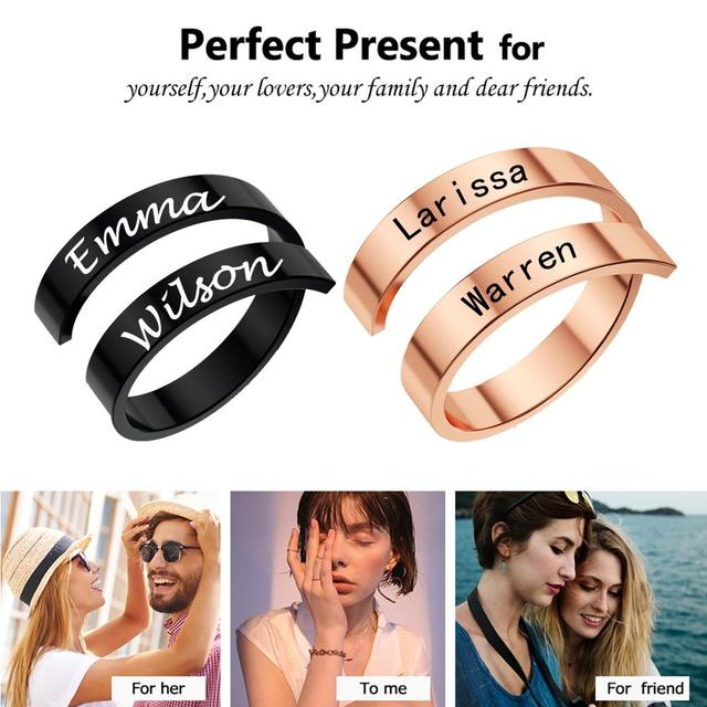 Jiayiqi Personalized Double Name Ring Stainless Steel Custom Couple Adjustable Rings for Women Men Statement Jewelry Unique Gift