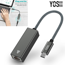 YOSH USB C Thunderbolt 3 LAN RJ45 Gigabit ethernet adaptörü c tipi cihazlar Macbook dizüstü bilgisayar