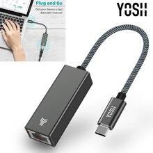 YOSH USB C Thunderbolt 3 naar LAN RJ45 Gigabit Ethernet Adapter Voor Type c Apparaten Macbook Laptop Computer
