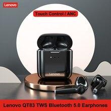 Lenovo TWS słuchawki QT83 bezprzewodowy zestaw słuchawkowy Bluetooth 5.0 wodoodporny sportowe słuchawki douszne z redukcją szumów Mic podwójne Stereo HIFI bas dotykowy