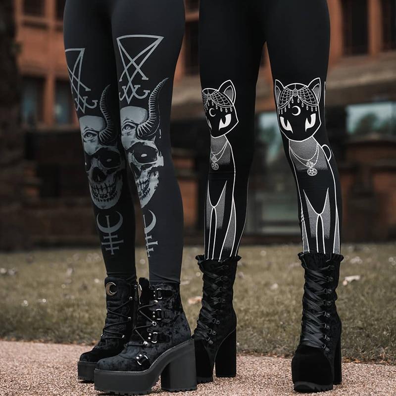 InsGoth Black Women Leggings Gothic Skull Printed Bodycon Pants Female Leggings Streetwear Fashion Stretch Pants Lady Trousers
