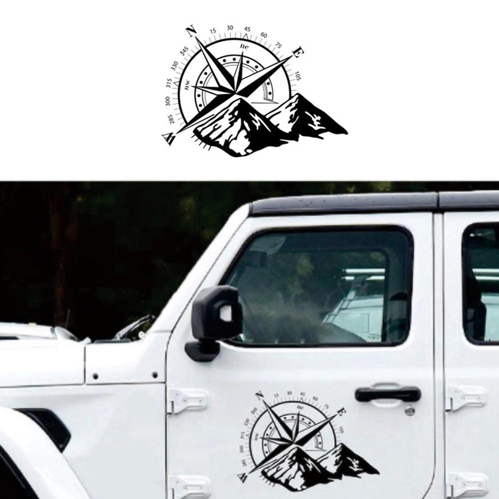 Compas de voiture hors route noir 48x34cm, autocollant décoratif en vinyle graphique capot, accessoires de décoration