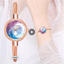 Lvpai Brand New Ladies Watch Small Watch Rose Gold Bangle Bracelet Geometric Glass Surface Women Watches Dress Clock Relogio *A-in Women's Watches from Watches on AliExpress