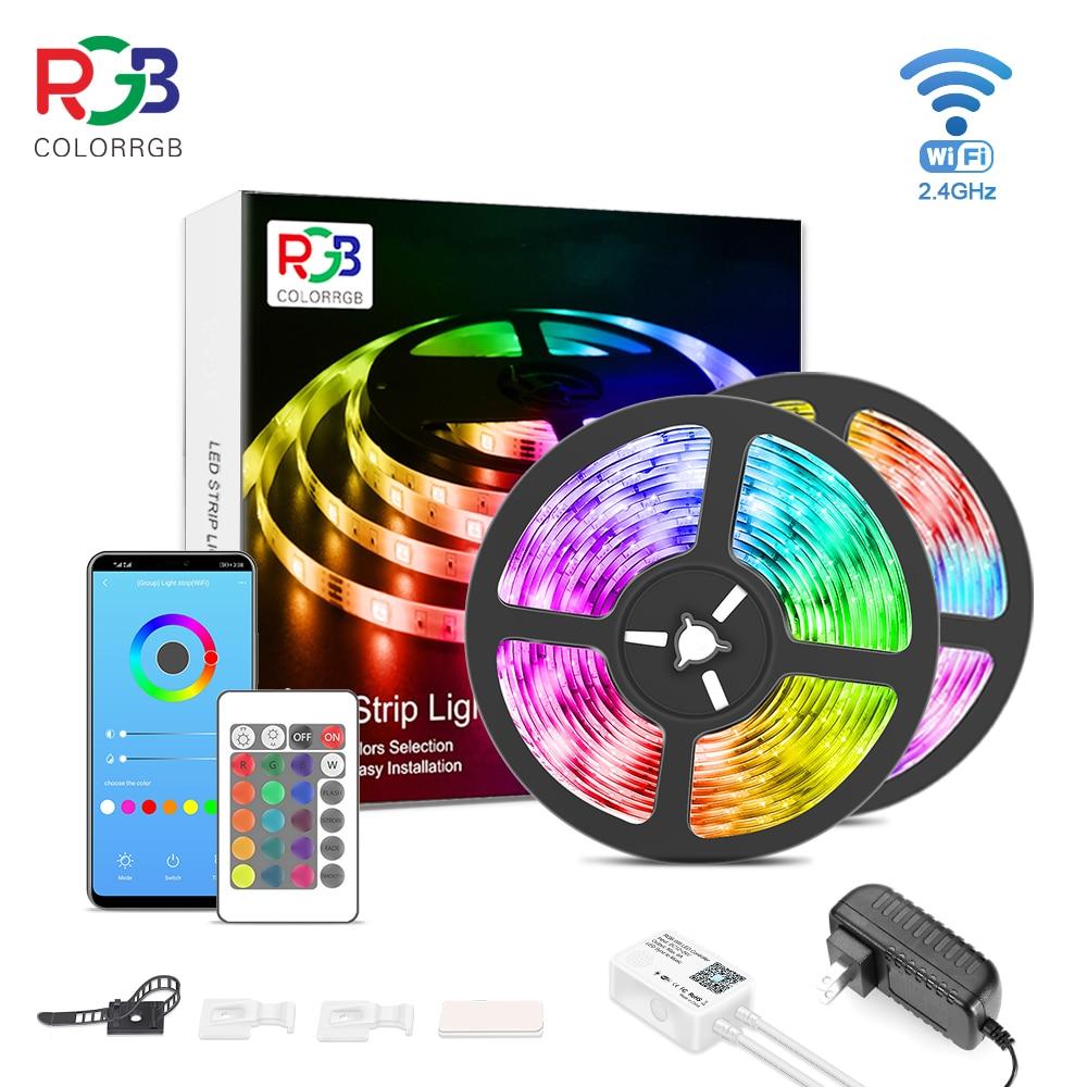 Les lumières intelligentes de bande de WiFi LED de ColorRGB fonctionne avec Alexa, Google Home plus lumineux 5050 bande de lumière LED DC12V téléphone App 12M