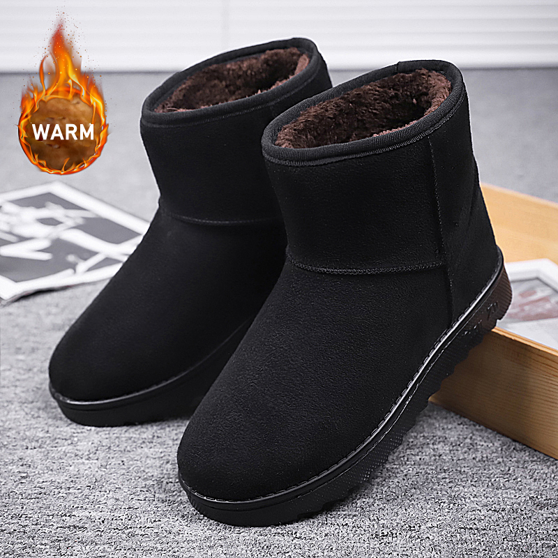 New Fashion Men Boots High Quality Waterproof Ankle Snow Boots Shoes Warm Fur Plush Slip On Winter Shoes For Dropshipping