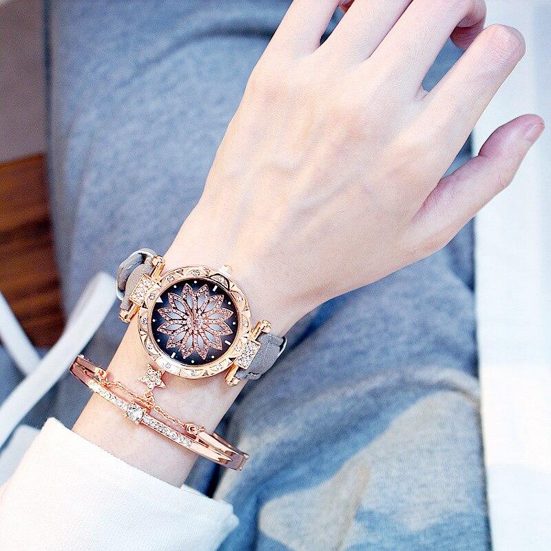 2019 kobiet zegarki zestaw bransoletek Starry Sky bransoletka damska zegarek Casual skórzany zegarek kwarcowy zegar Relogio Feminino 4