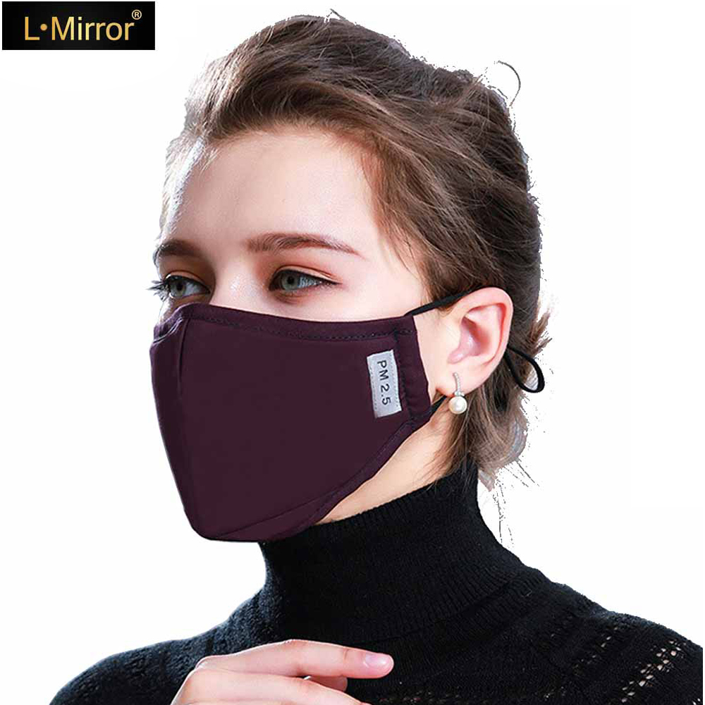 L.Mirror 1Pcs Fashion Mask Dust Anti Pollution PM2.5 Activated Carbon Filter Insert Washed Reusable Pollen Cotton Mouth Mask