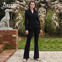 INDRESSME 2019 Winter New Fashion Women Sexy Vestidos Office Lady Two Piece Sets Long Sleeve Blazer Top And Flared Pant Suits