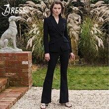 Indressme 2019 inverno nova moda feminina sexy vestidos senhora do escritório de duas peças conjuntos manga longa blazer superior e calças alargadas ternos