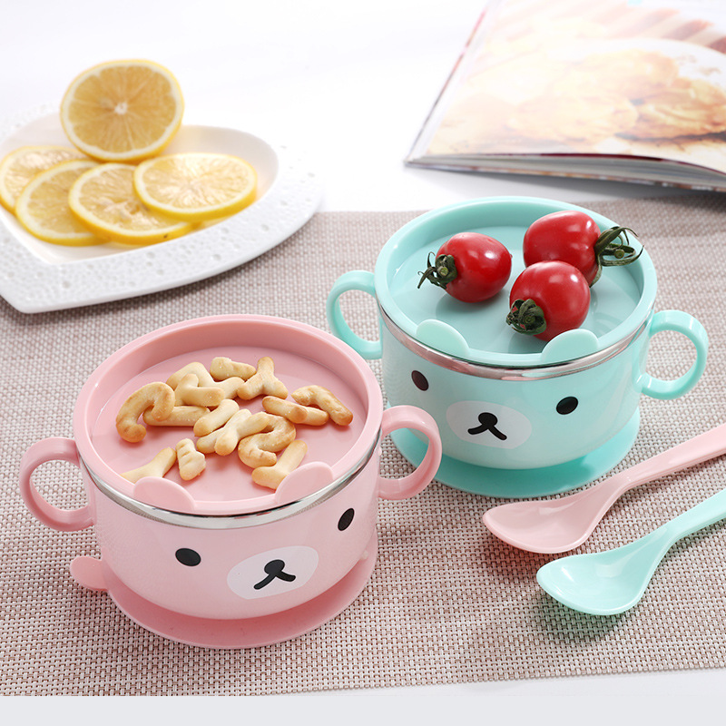 Baby Bowl Tableware Learning Cartoon Bear With Cover Baby Stainless Steel Suction Cup Insulation Bowl Complementary Food