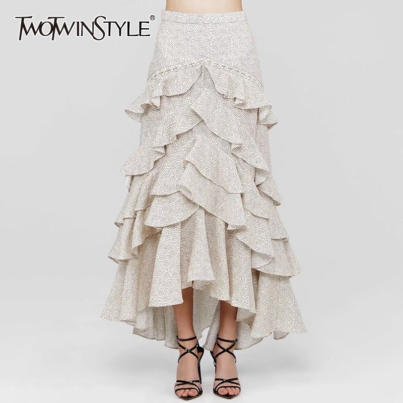 TWOTWINSTYLE Wave Point Ruffle Skirts For Women High Waist Ankle Length Pleated Skirt Female 2020 Autumn Fashion New Clothing