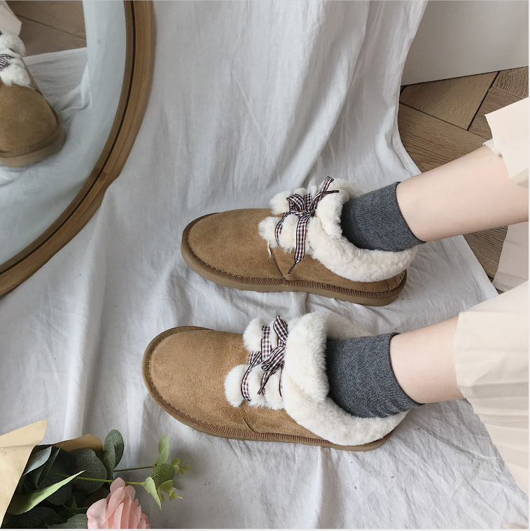 New Autumn Flat Keep Warm Ankle Boots Women Lace Up Short Plush Snow Boots Shoes Woman Winter Cotton Shoes Women Chaussure 2019 65