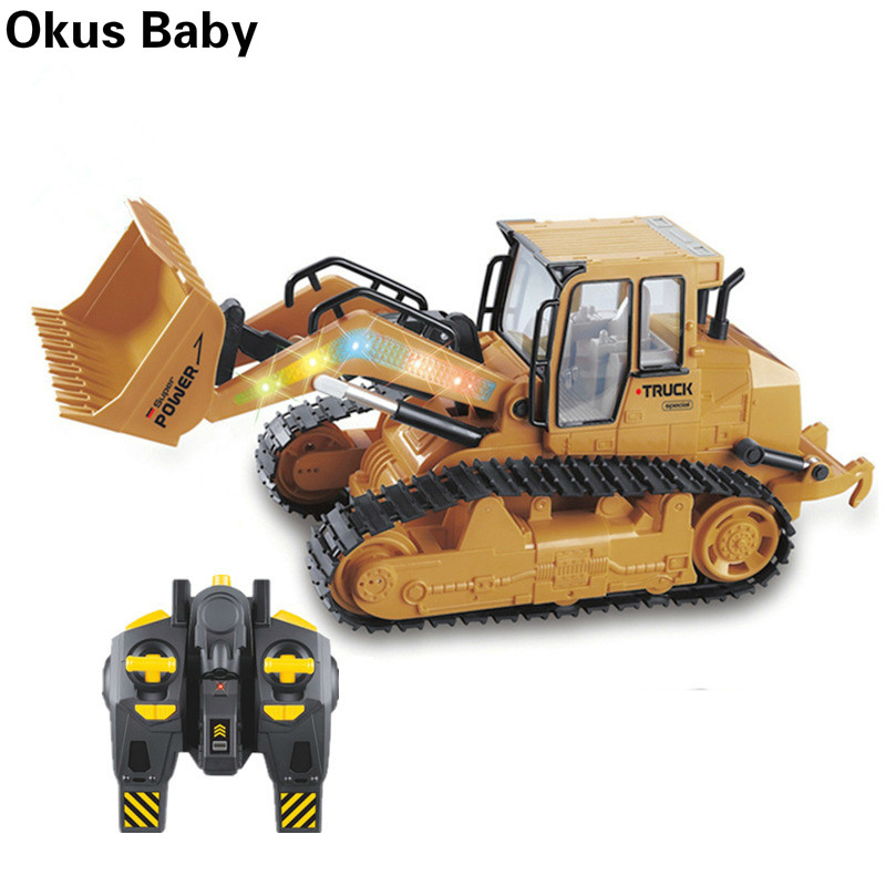 2020 New RC Truck 6CH Bulldozer Tractor Car Model Engineering Car With Light Toy Equipped With USB Charging Cable