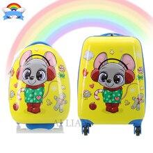 Новый 3D сразу же дети путешествия чемодан-спиннер колеса возят на тележке багаж сумку, пригодный для подарок девушки детей мешок вагонетки