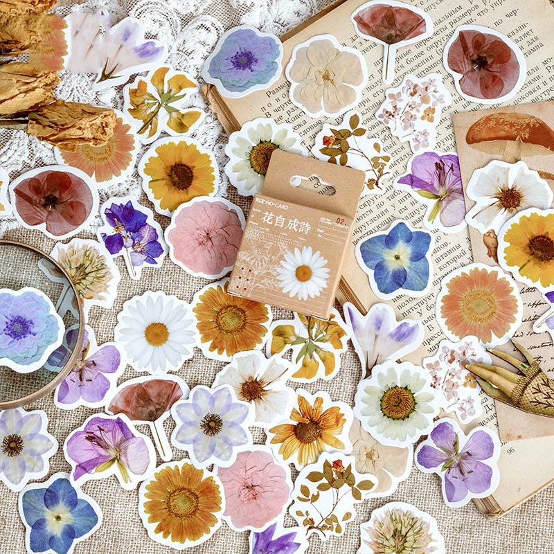 46Pcs Cute Flower Stickers Kawaii Stationery Stickers Cartoon Sticker For Kids DIY Decor Scrapbooking Diary Albums Supplies