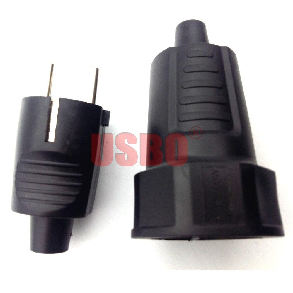 Black PVC 16A 250V EU power cord male female wiring plug detachable assembly electric plug socket for German France Korea Russia(China)