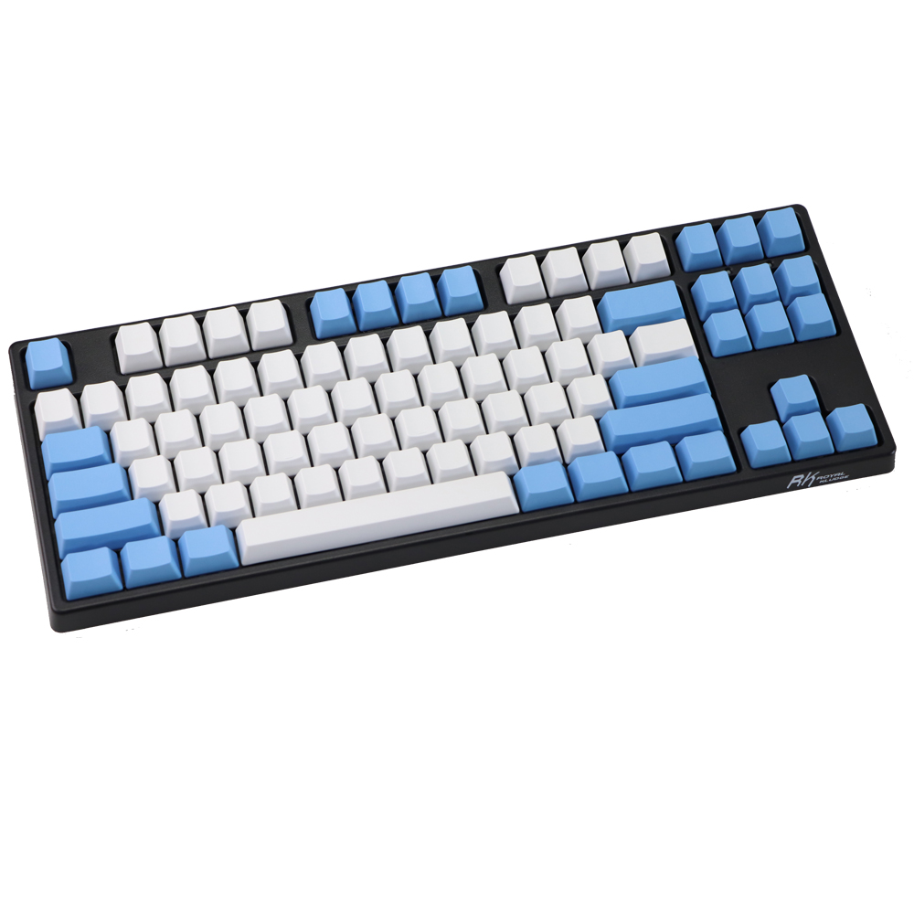 PBT Layout Blank Keycap ANSI Raindrop-Color Blue White 87 Keys ISO Matching Thick