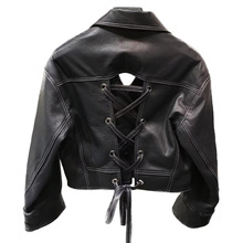 Women Ladies Genuine Sheep Leather Jacket Female Real Sheepskin Leather Coat Outwear Short Sexy Cool Leather Garment