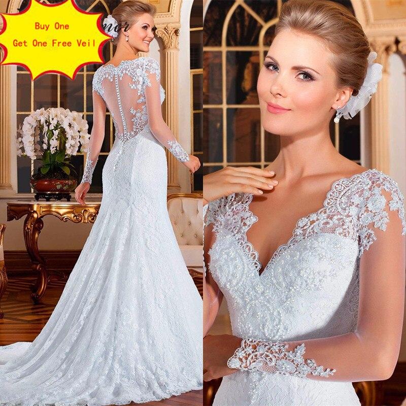Brésil robe de mariée sirène 2019 vestidos de noiva perles perles perles broderie Illusion dentelle sirène robes de mariée W0021