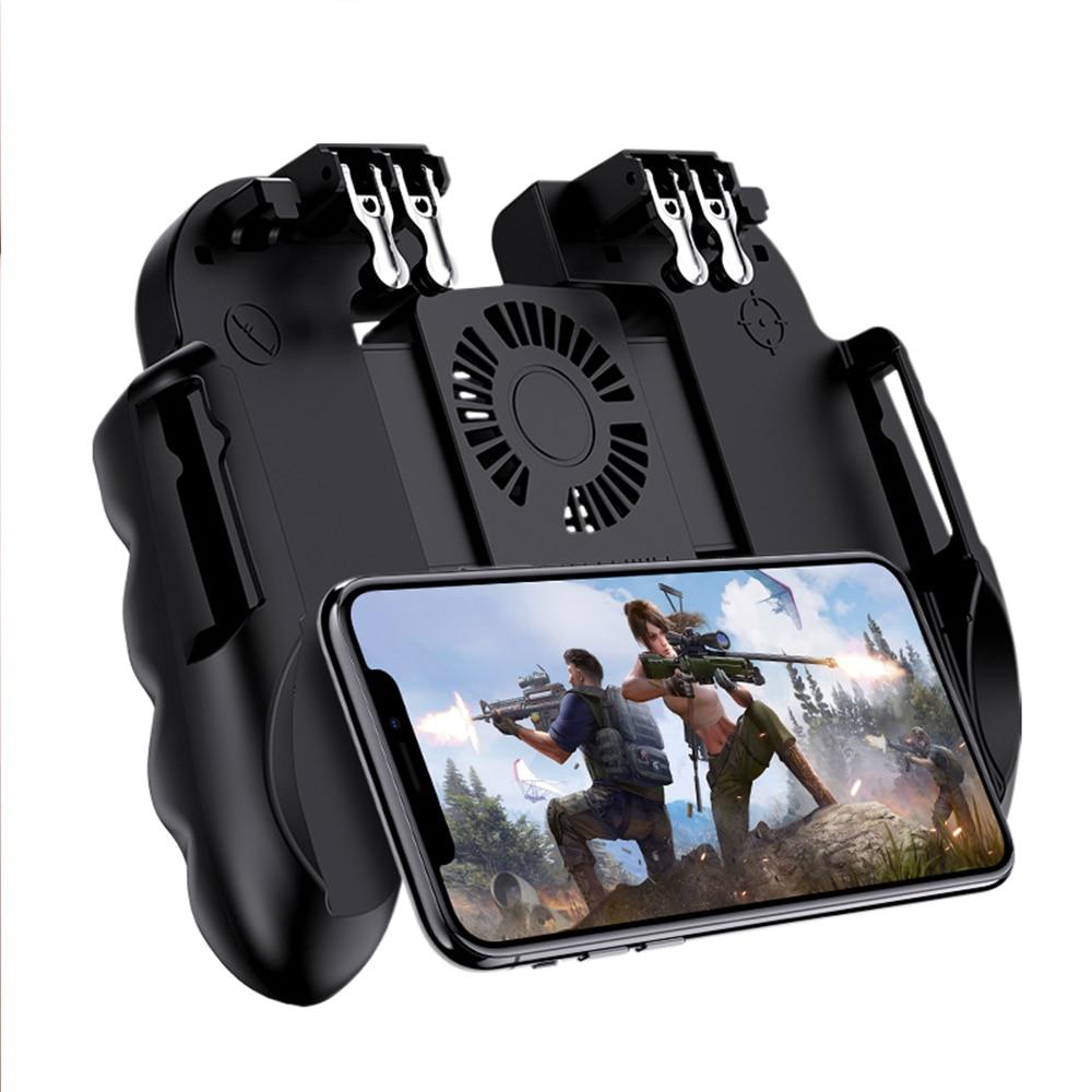 H9 Six Finger Pubg Controller Gamepad Joystick Pubg Mobile Trigger L1R1 Shooter Joystick Game Pad Phone Holder with Cooler Fans|Gamepads|   - AliExpress