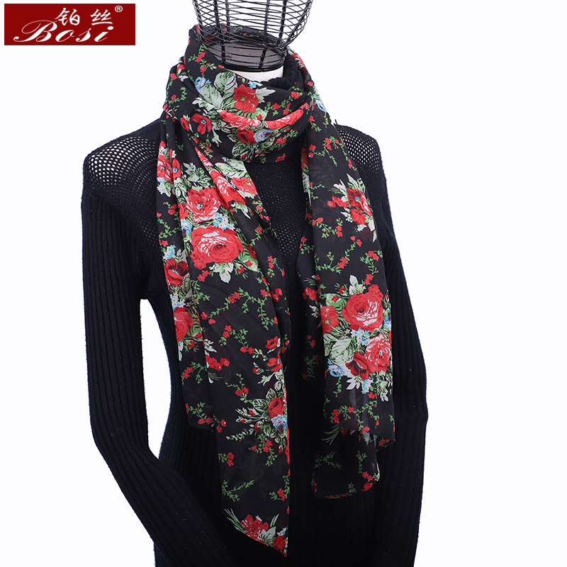 2020 New Fashion Multicolor Long Chiffon Scarf Flowers Print Women Luxury Brand Hijab Shawl Bohemian Summer Ladies Scarves