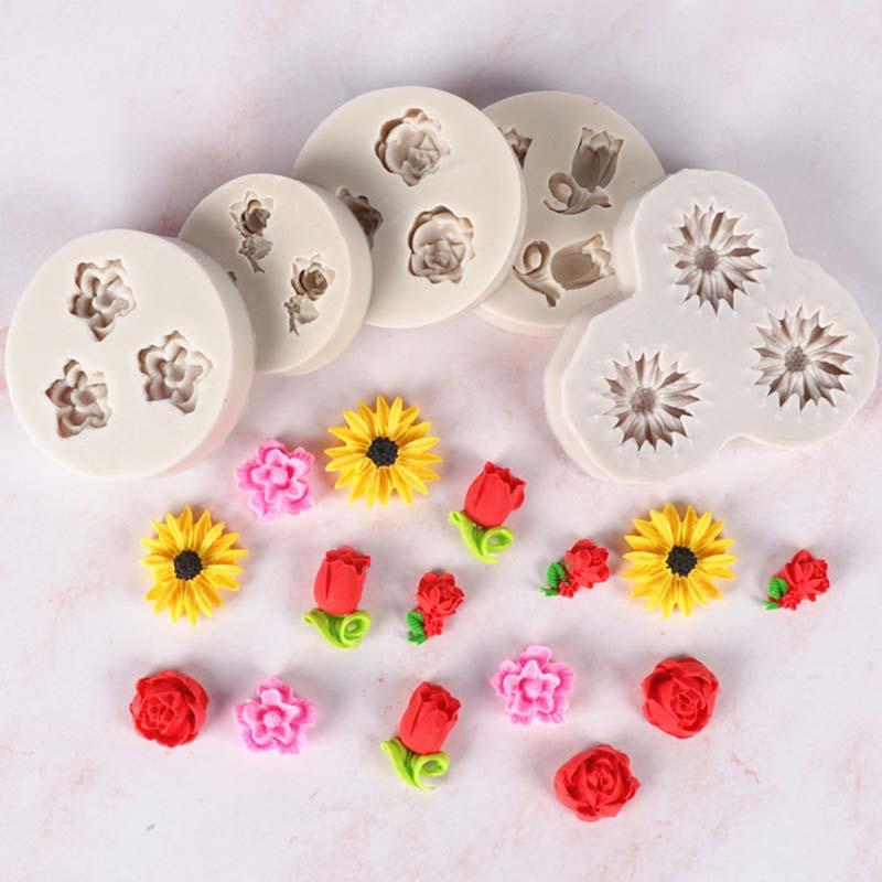 1Pcs Cake Decoration Kitchen Supplies DIY Baking Tool Sugar Stencil Gray Rose Shape Soap Mould 3D Silicone Mold Multi Purpose