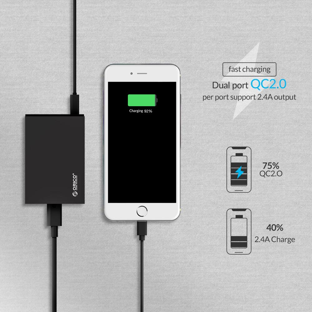 ORICO QC 2,0 быстрое зарядное устройство с 4 портами 5V2.4A 50 Вт Макс выход USB ЗУ для мобильного телефона для Samsung Xiaomi Huawei